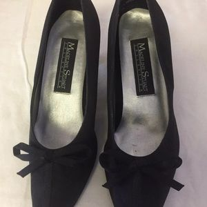 """Black Shoes ( 2"""" Heels) with tiny string bow."""